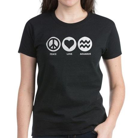Peace Love Aquarius Women's Dark T-Shirt