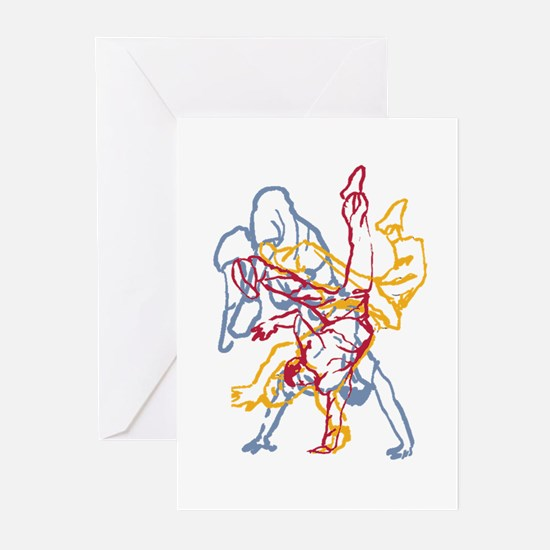 Blue, Red, Yellow Breakdance Greeting Cards (Pk of