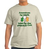 American by birth irish by the grace of god Mens Light T-shirts