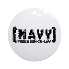 Proud NAVY SonNlaw - Tattered Style  Ornament (Rou