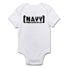 Proud NAVY SisNlaw - Tattered Style  Infant Bodysu
