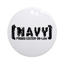 Proud NAVY SisNlaw - Tattered Style  Ornament (Rou