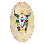 Tribal Cow Skull Oval Sticker