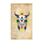 Tribal Cow Skull Rectangle Sticker