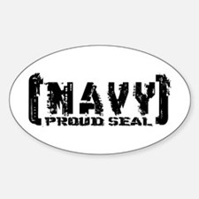 Proud NAVY Seal - Tattered Style Oval Decal