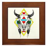 Tribal Cow Skull Framed Tile