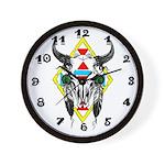 Tribal Cow Skull Wall Clock