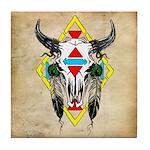 Tribal Cow Skull Tile Coaster