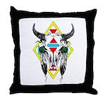 Tribal Cow Skull Throw Pillow