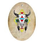 Tribal Cow Skull Oval Ornament