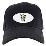 Tribal Cow Skull Black Cap