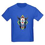 Tribal Cow Skull Kids Dark T-Shirt