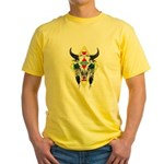 Tribal Cow Skull Yellow T-Shirt