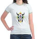 Tribal Cow Skull Jr. Ringer T-Shirt