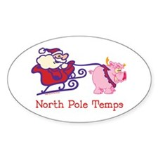 North Pole Temp Oval Decal
