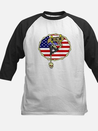 American Skater Skeleton Kids Baseball Jersey