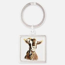 Watercolor Goat Farm Animal Keychains