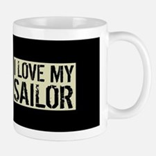 U.S. Navy: I Love My Sailor (Black Flag Mug