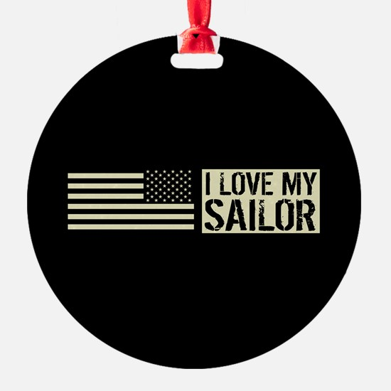 U.S. Navy: I Love My Sailor (Black Ornament