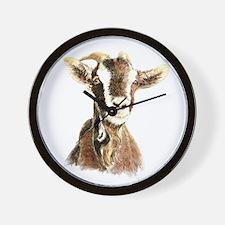 Watercolor Goat Farm Animal Wall Clock