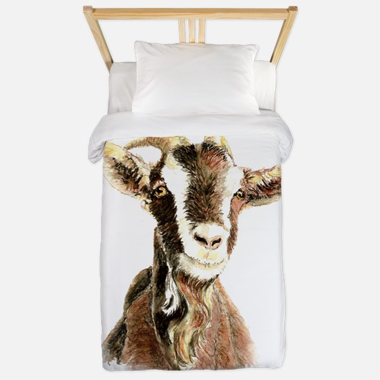 Watercolor Goat Farm Animal Twin Duvet
