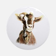 Watercolor Goat Farm Animal Round Ornament