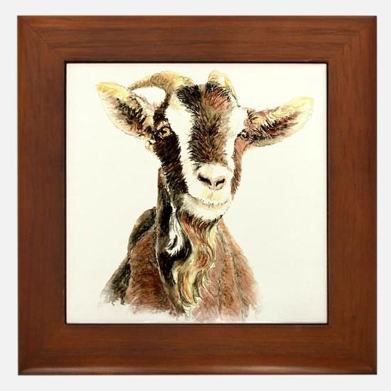 Watercolor Goat Farm Animal Framed Tile
