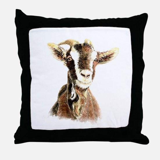 Watercolor Goat Farm Animal Throw Pillow