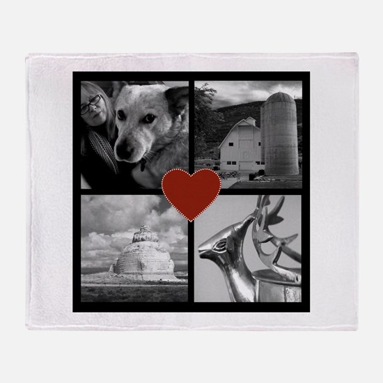 Photo Block with Heart Throw Blanket