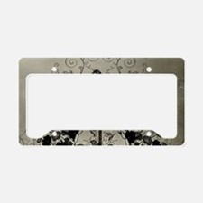 Awesome crow with flowers License Plate Holder