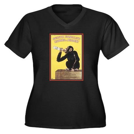 Anisetta Women's Plus Size V-Neck Dark T-Shirt