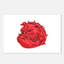 Angry Bulldog Head Drawing Postcards (Package of 8