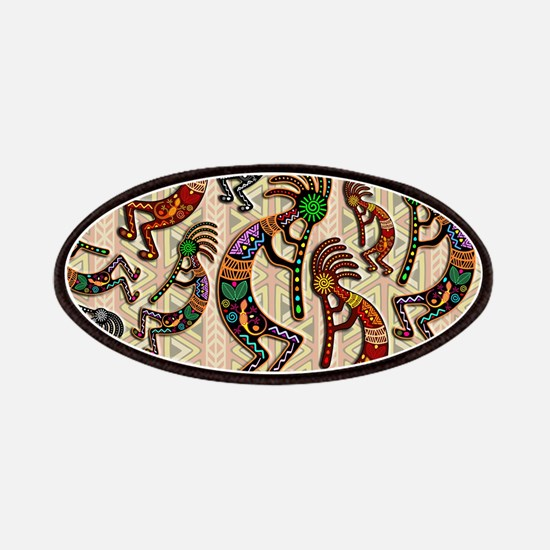 Kokopelli Rainbow Colors on Tribal Pattern Patch