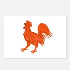 Chicken Rooster Crowing Drawing Postcards (Package