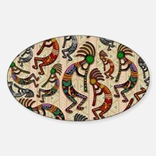 Kokopelli Rainbow Colors on Tribal Pattern Decal