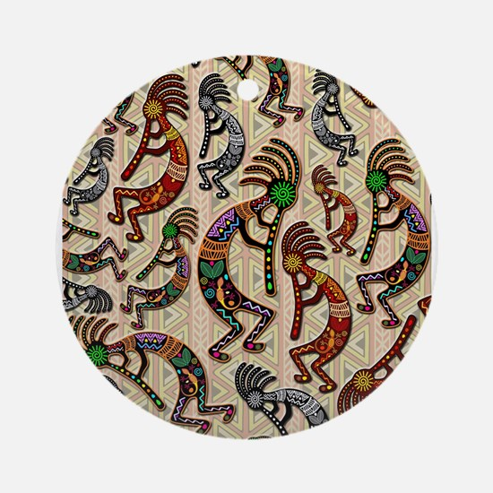 Kokopelli Rainbow Colors on Tribal Pattern Round O