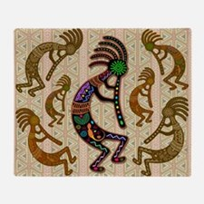 Kokopelli Rainbow Colors on Tribal Pattern Throw B