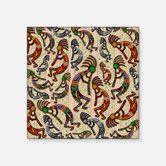 Kokopelli Rainbow Colors on Tribal Pattern Sticker