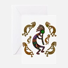 Kokopelli Rainbow Colors on Tribal Pattern Greetin
