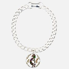 Kokopelli Rainbow Colors on Tribal Pattern Charm B