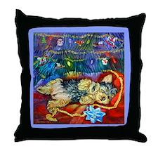Yorkie Santa Dreams Throw Pillow