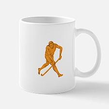Field Hockey Player Running With Stick Drawing Mug