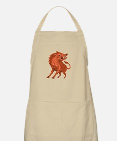 Angry Razorback Ready To Attack Drawing Apron