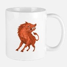 Angry Razorback Ready To Attack Drawing Mugs