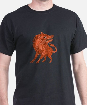 Angry Razorback Ready To Attack Drawing T-Shirt