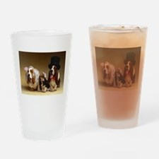 basset bridal party Drinking Glass