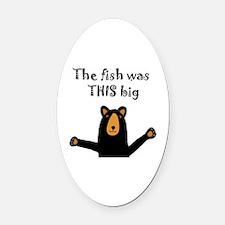 Cute Fishing cartoon Oval Car Magnet
