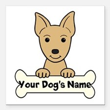 """Personalized Min Pin Square Car Magnet 3"""" x 3"""""""