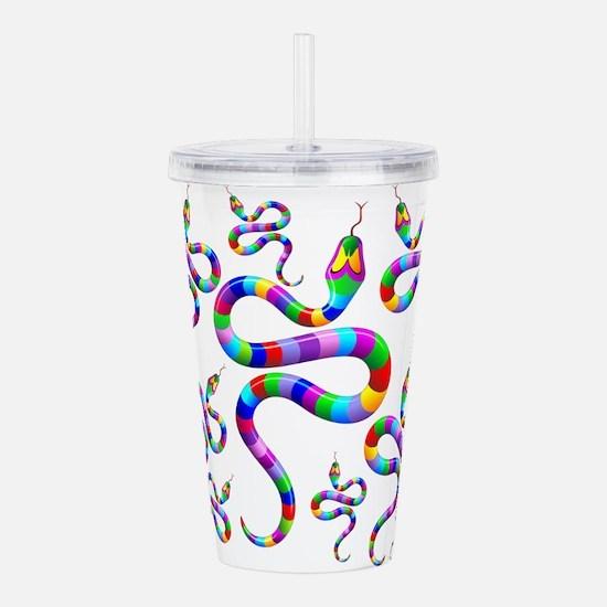 Snake Psychedelic Rainbow Colors Acrylic Double-wa