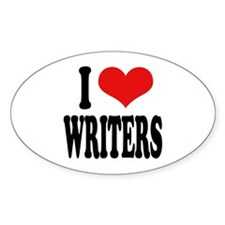 I Love Writers Oval Decal